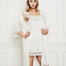 Lida lingerie robe ivory satin 2238