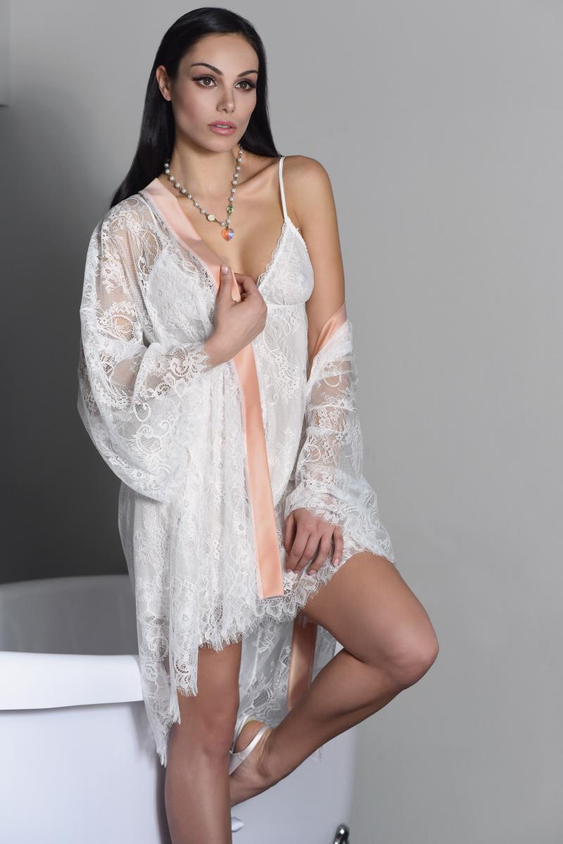 869cc3634f98 Miss Rosy Νυφική Ρόμπα Δαντέλα Ιβουάρ-Somon 6073 – Tartora.gr
